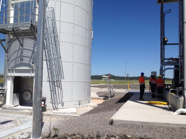 lime silo with ladder