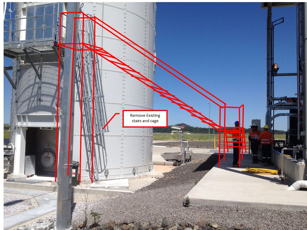 lime silo stairs marked up